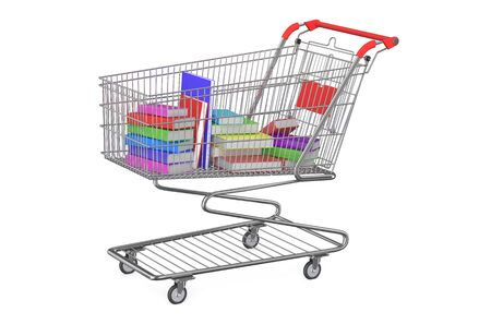 selloff: books in shopping cart isolated on white background