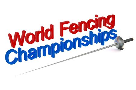 fenced: World Fencing Championships concept  isolated on white background