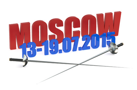 fenced: World Fencing Championships 2015 Russia isolated on white background