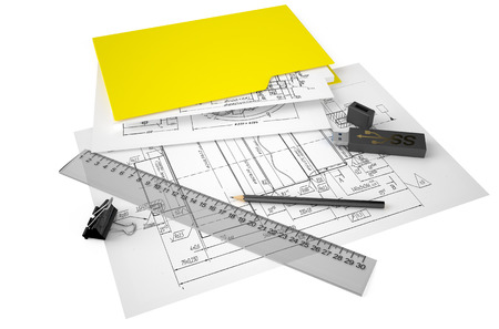 pensil: engineering and construction concept isolated on white background Stock Photo