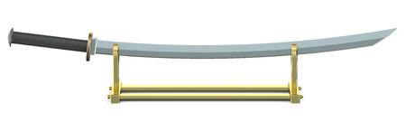 katana: Japanese sword Katana on golden stand isolated on white background Stock Photo