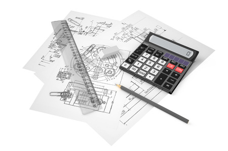 drafting: drafting, calculation and construction concept isolated on white background