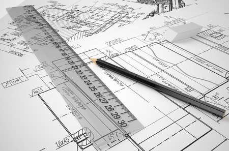 construction concept: engineering, drafting and construction concept  isolated on white background