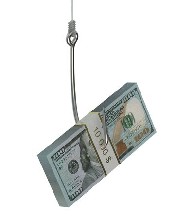 allurement: fishing hook with pack of dollars isolated on white background Stock Photo