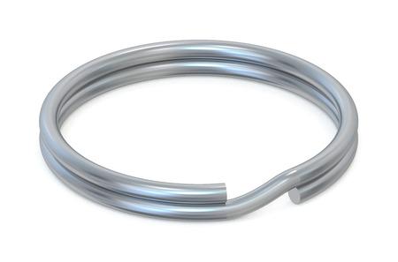 key ring: ring for key closeup  isolated on white background Stock Photo