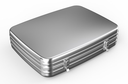 hinges: metallic suitcase or briefcase isolated on white background Stock Photo