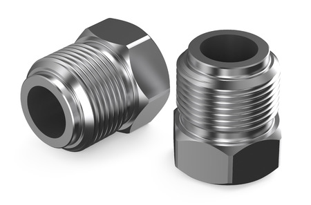 fittings: steel fittings isolated on white background