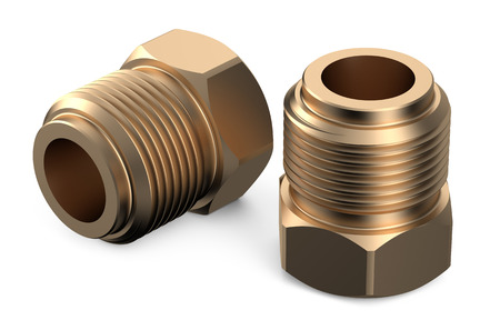 fittings: set of copper fittings isolated on white background