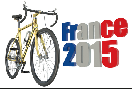 bicycle race: bicycle race  France 2015 concept isolated on white background Stock Photo