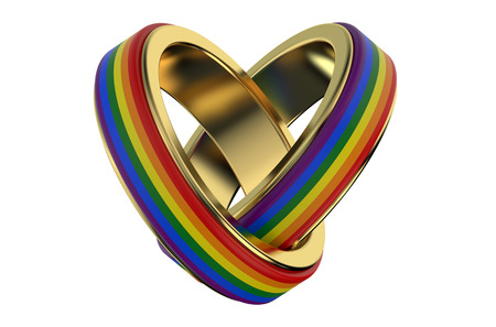 gay family: same-sex marriages сoncept with rainbow rings Stock Photo