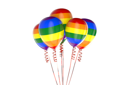 sexual orientation: balloons with rainbow, gay party concept Stock Photo