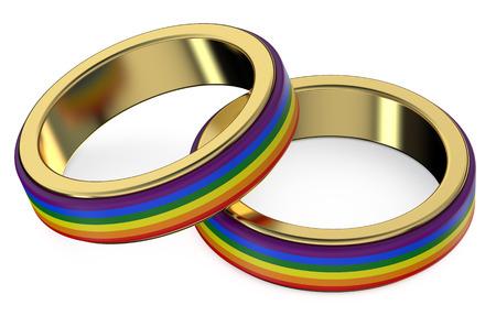 casamento: Conceito do casamento entre homossexuais com Anéis do arco-íris Banco de Imagens