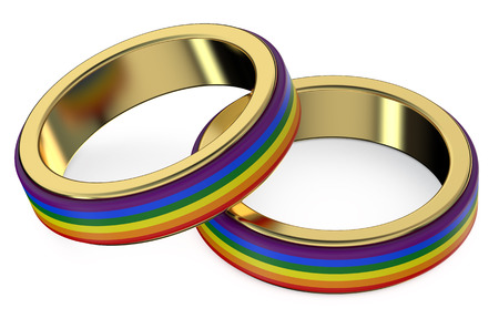 3d rainbow: Gay Marriage Concept with Rainbow Rings Stock Photo