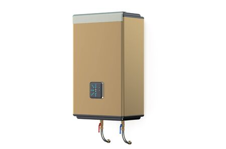 side view: golden electric water heater side view