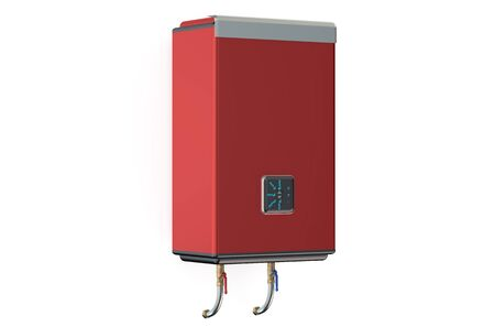 water heater: red water heater or boiler  side view Stock Photo