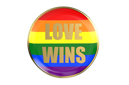 gay pride rainbow: badge with rainbow flag, love wins concept isolated on white background