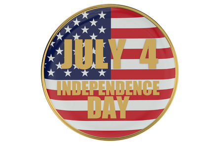 declaration of independence: July 4 Independence Day concept with badge  isolated on white background
