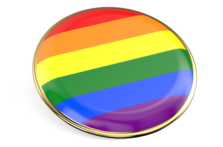 rainbow flag: badge with rainbow flag isolated on white background