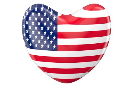 declaration of independence: heart with american flag  isolated on white background