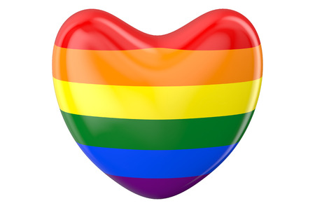sexual orientation: heart with rainbow flag isolated on white background