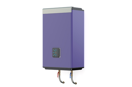 side view: purple water heater or boiler  side view