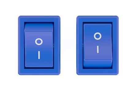 shutdown: two blue switch  isolated on white background Stock Photo