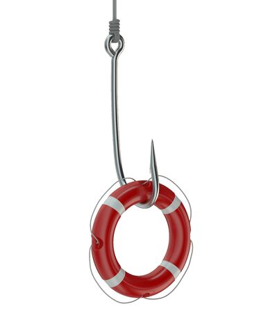 ring buoy: Ring buoy on a fishing hook isolated on white background