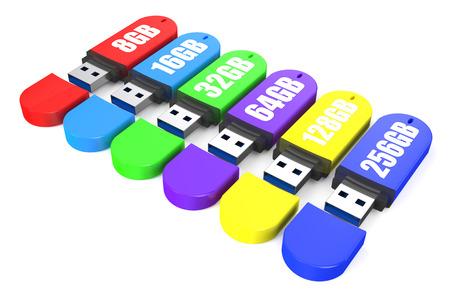 32: set of multicolored USB flash drive ss 3.0 8,16, 32, 64, 128, 256 gb Stock Photo