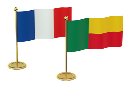 industrialized country: meeting France with Benin concept isolated on white background Stock Photo