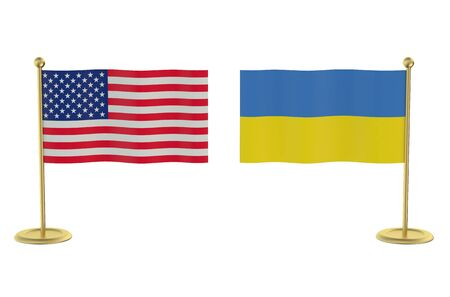 industrialized country: meeting USA with Ukraine concept isolated on white background