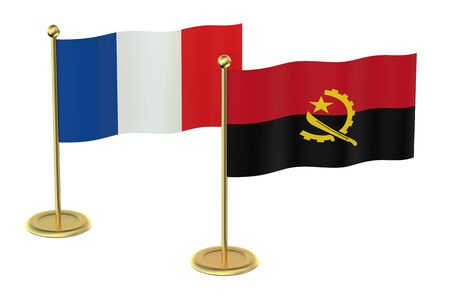 industrialized country: meeting France with Angola concept isolated on white background
