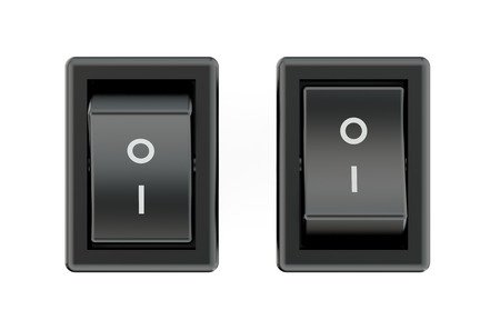 two black switches  isolated on white background Stock Photo