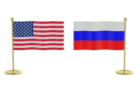 economic issues: meeting USA with Russia concept isolated on white background
