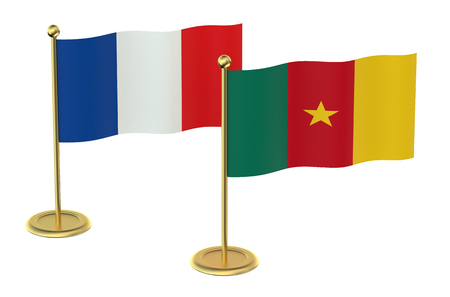 industrialized country: meeting France with Cameroon concept isolated on white background Stock Photo