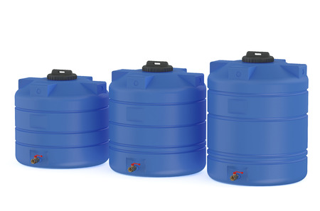 three blue water tanks  or water barrels  isolated on white background 版權商用圖片