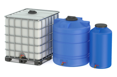 large group of objects: Group of plastic water tanks isolated on white background