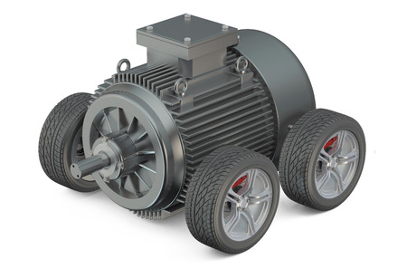 engine powered: electric car 3d concept - motor on wheels  isolated on white background Stock Photo