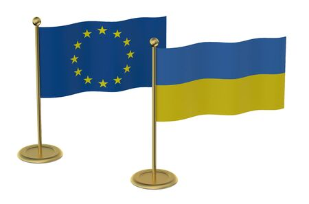 foreign nation: meeting EU with Ukraine concept isolated on white background