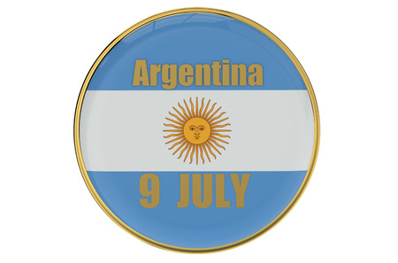 9th: Independence Day concept Argentina isolated on white background