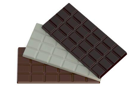 chocolate bars: milk, black and white chocolate bars isolated on white background Stock Photo