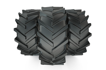 tread: Group of tractor tyres isolated on white background