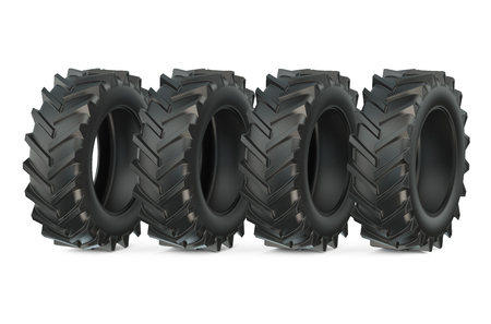 large group of objects: Group of tractor tires isolated on white background