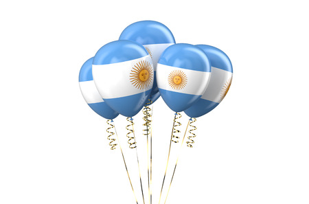 9th: Argentine patriotic balloons,  holyday concept isolated on white background