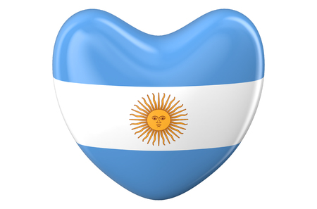 9th: heart with Argentinean flag isolated on white background