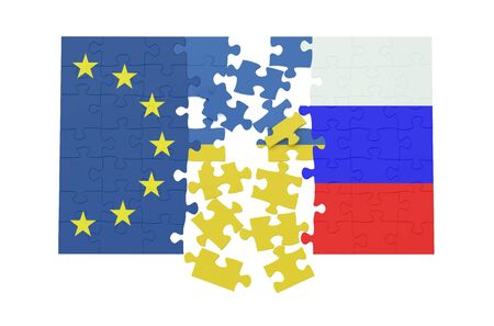 aggressor: puzzles of Ukraine, Russia and EU concept isolated on white background