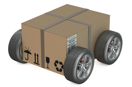 box: Cardboard box with wheels - shipping concept isolated on white background Stock Photo