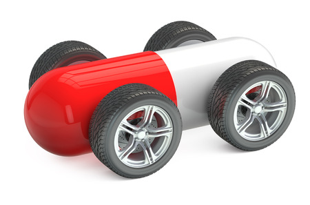 padded: Red Pill on Wheels isolated on white background