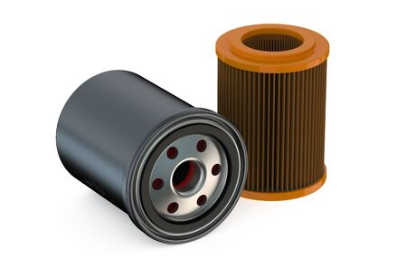 gasket: Car Oil filters isolated on white background Stock Photo