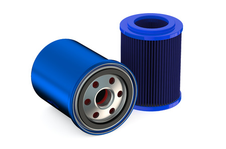 filters: Blue Car Oil filters isolated on white background