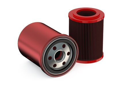 gasket: Red Car Oil filters isolated on white background